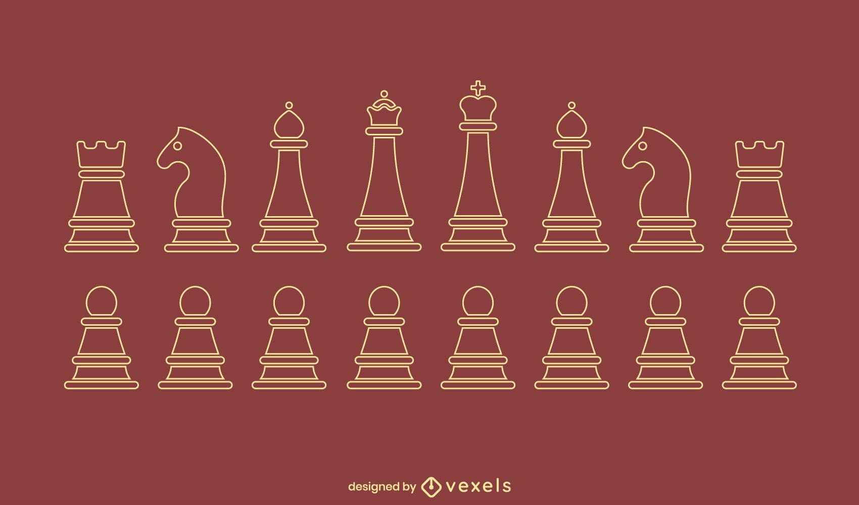 Chess simple pieces stroke set