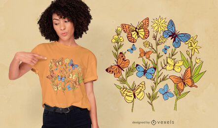 Diseño de camiseta de flores de jardín de mariposas.