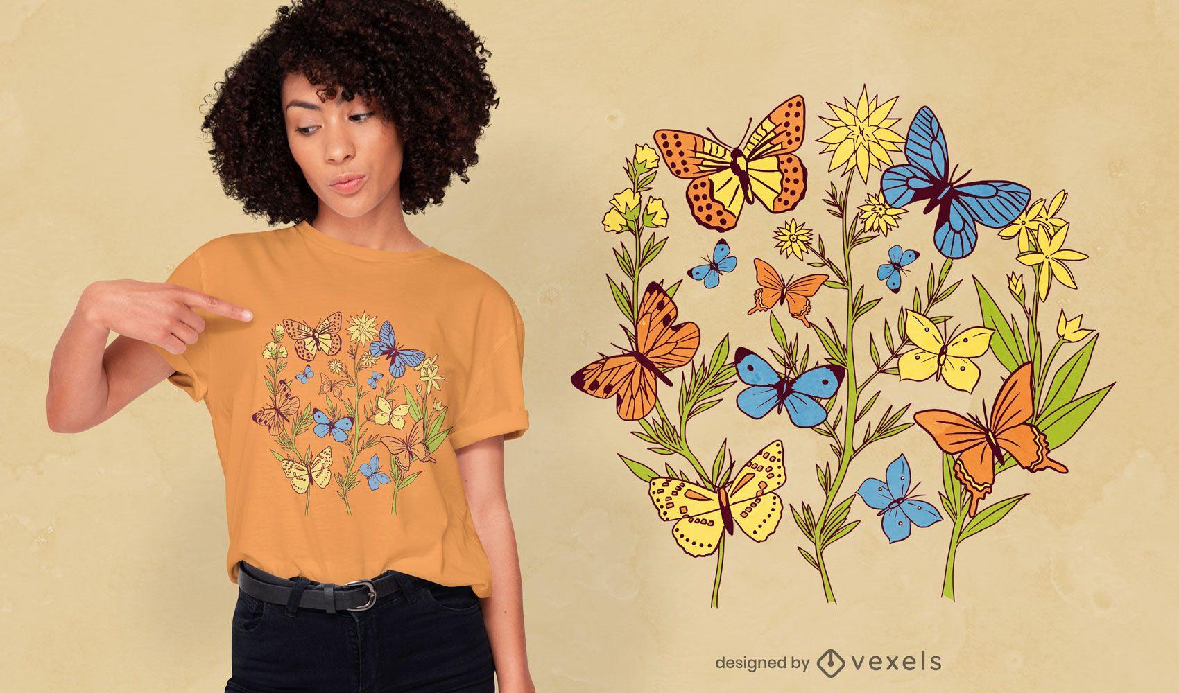 Design de camisetas com flores no jardim de borboletas