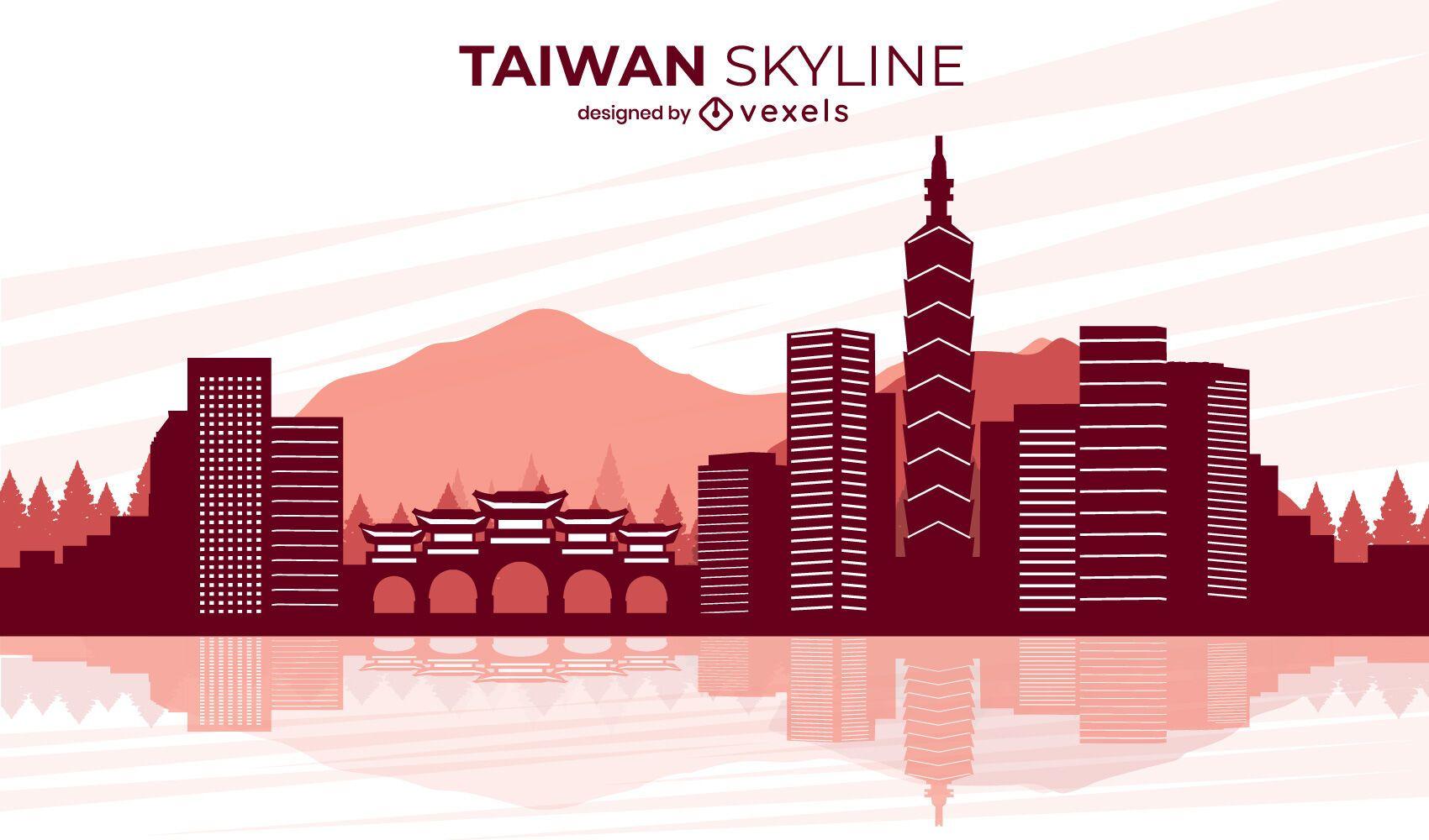 Diseño del horizonte del paisaje de la ciudad de Taiwán