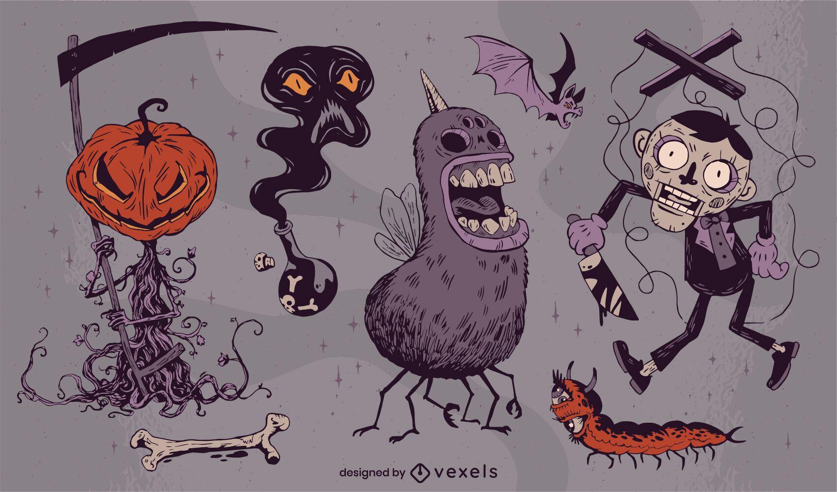 Paquete dibujado a mano de criaturas espeluznantes de halloween