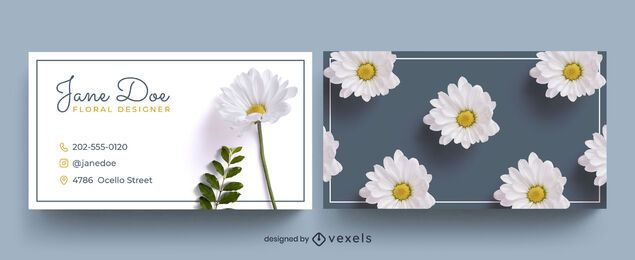 Business card template photographic flower pattern