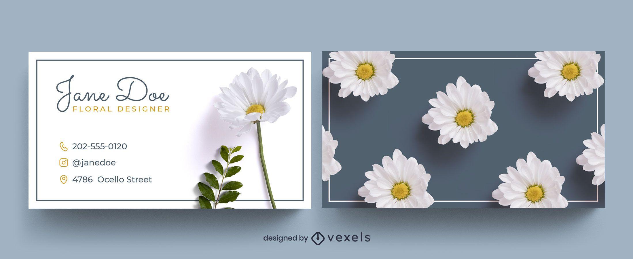 Patrón de flor fotográfica de plantilla de tarjeta de visita