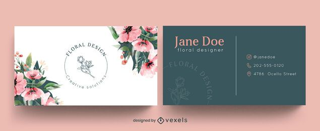 Floral business card template watercolor