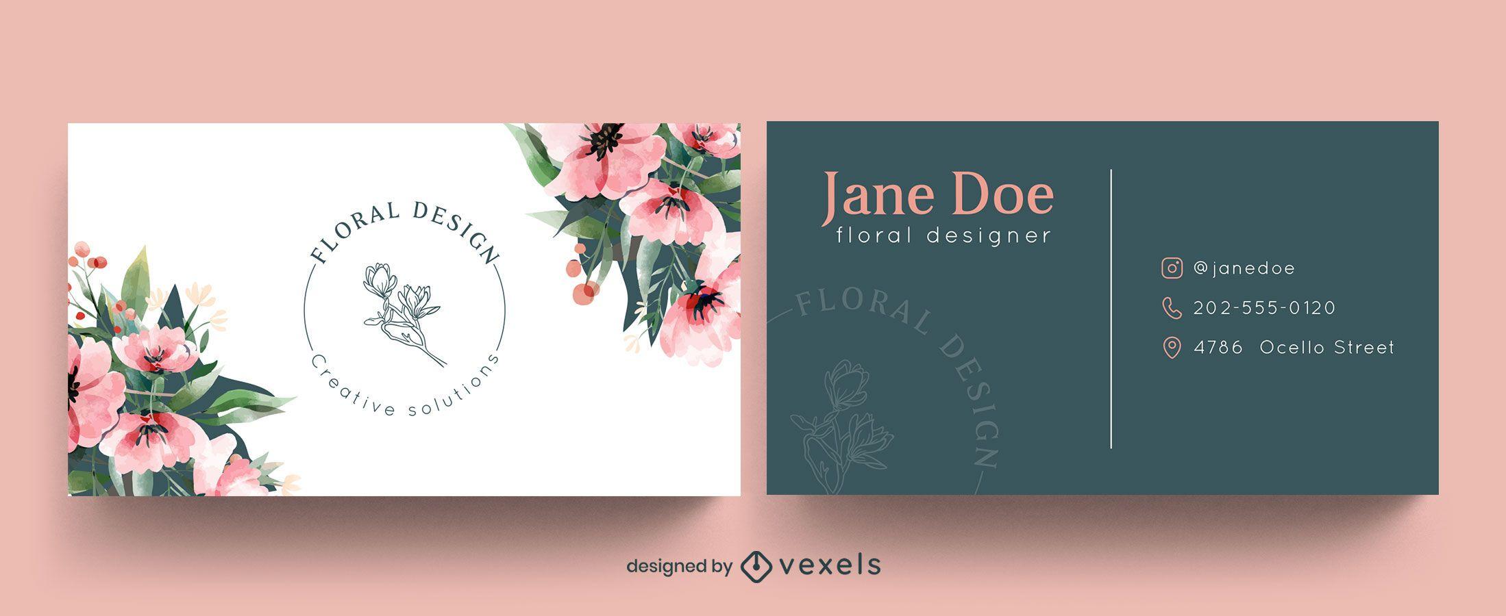 Acuarela de plantilla de tarjeta de visita floral