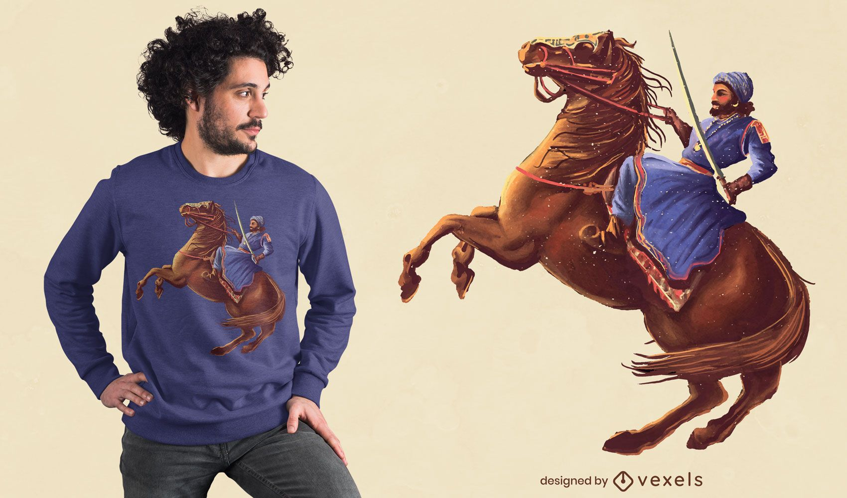 Warrior with sword on horse t-shirt design