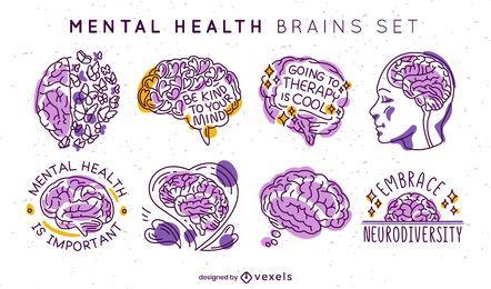 Mental health brains set of badges