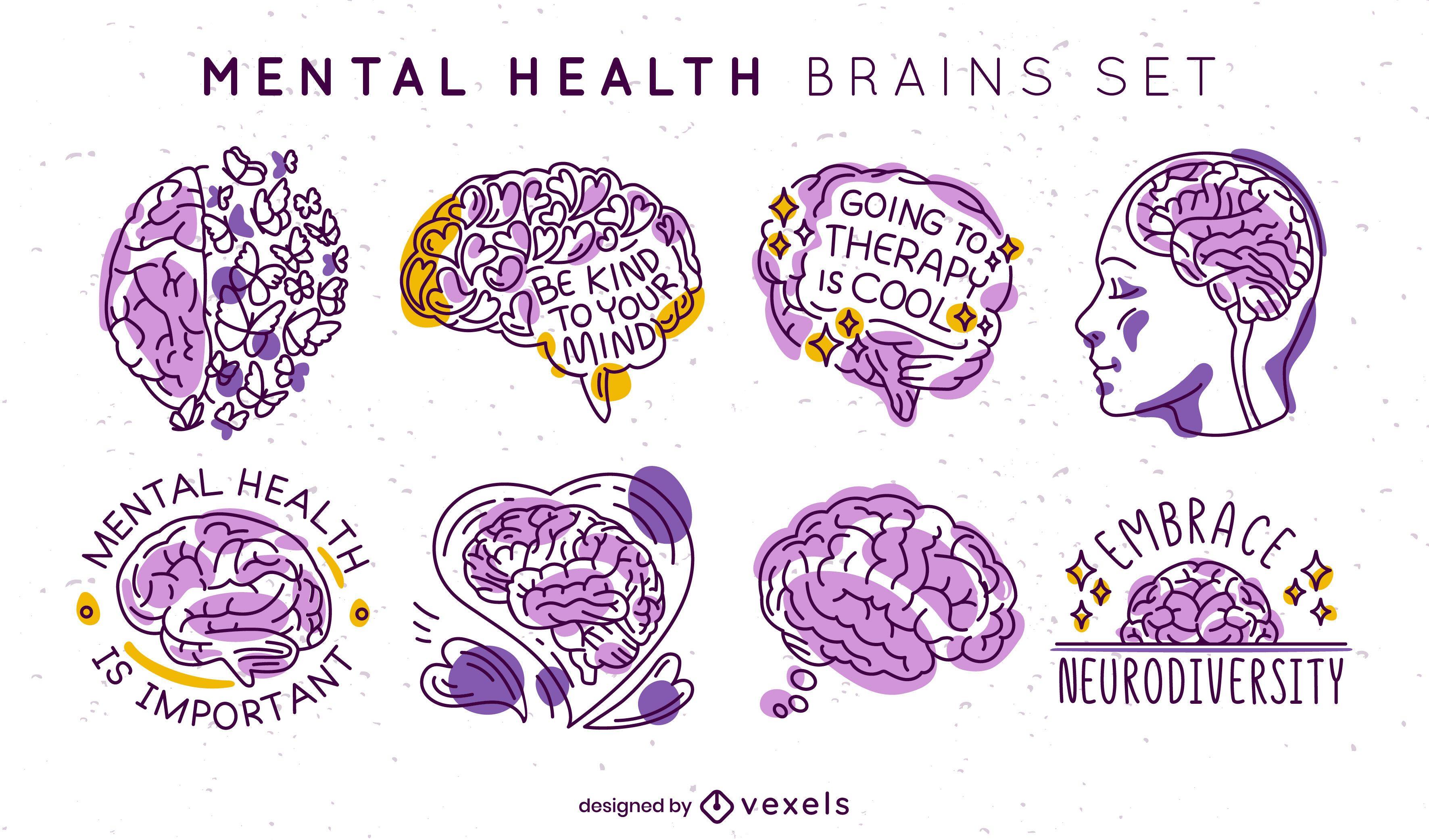 Conjunto de emblemas de cérebros de saúde mental