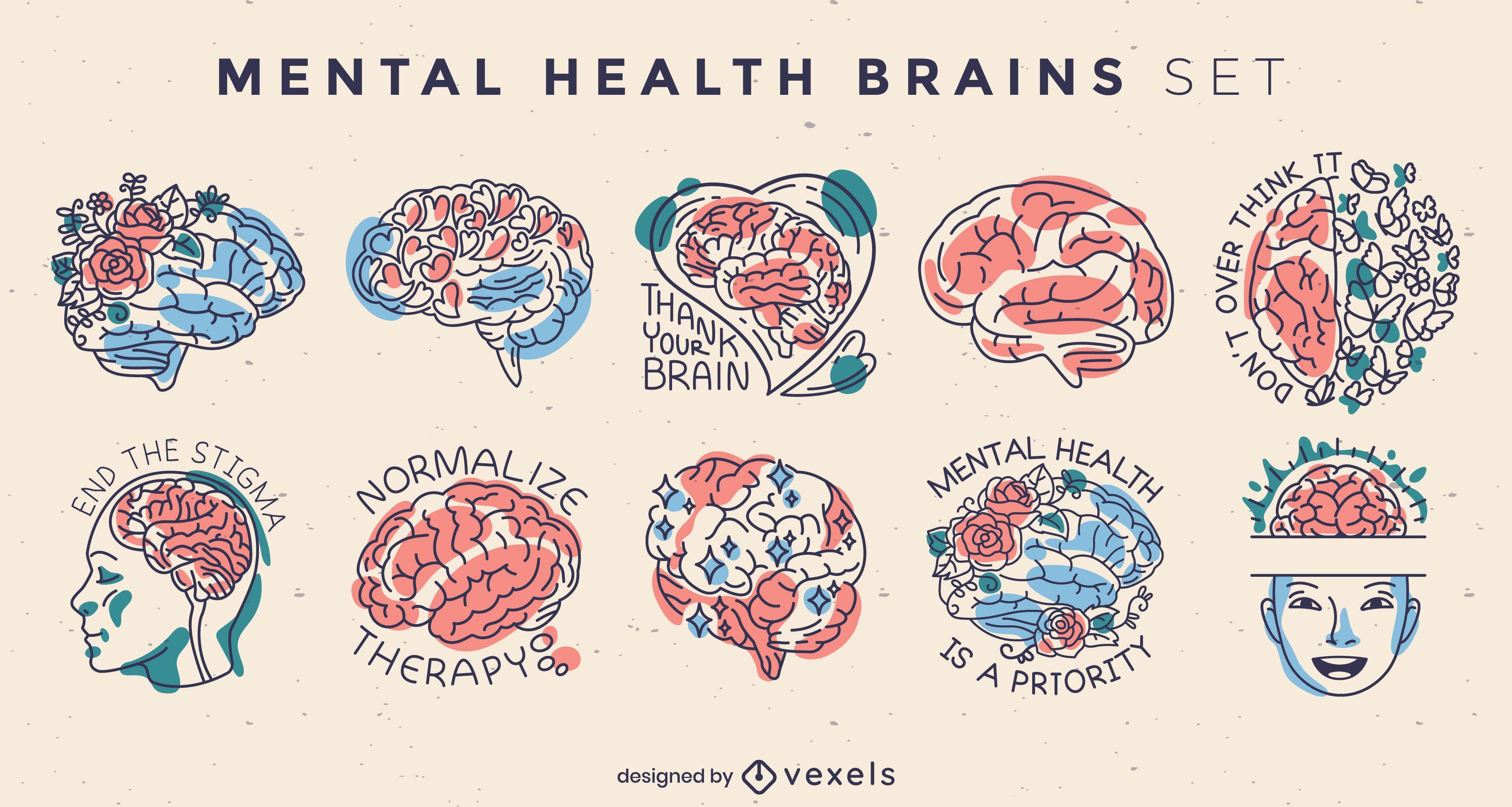 Conjunto de insignias de cerebros de salud mental.