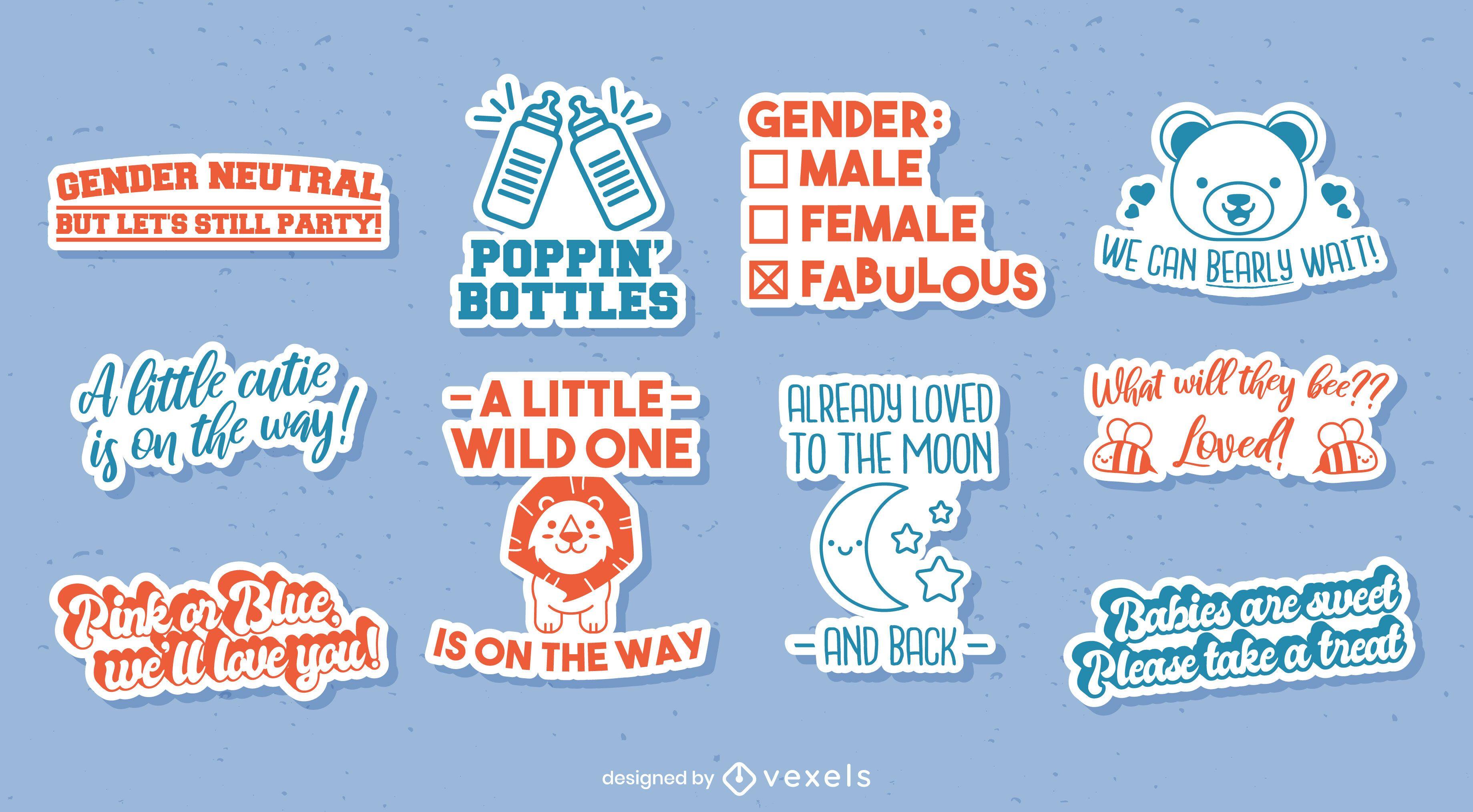 Set de pegatinas reveladoras de género neutro