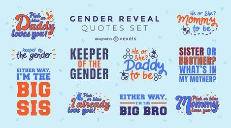 Gender reveal quotes lettering set