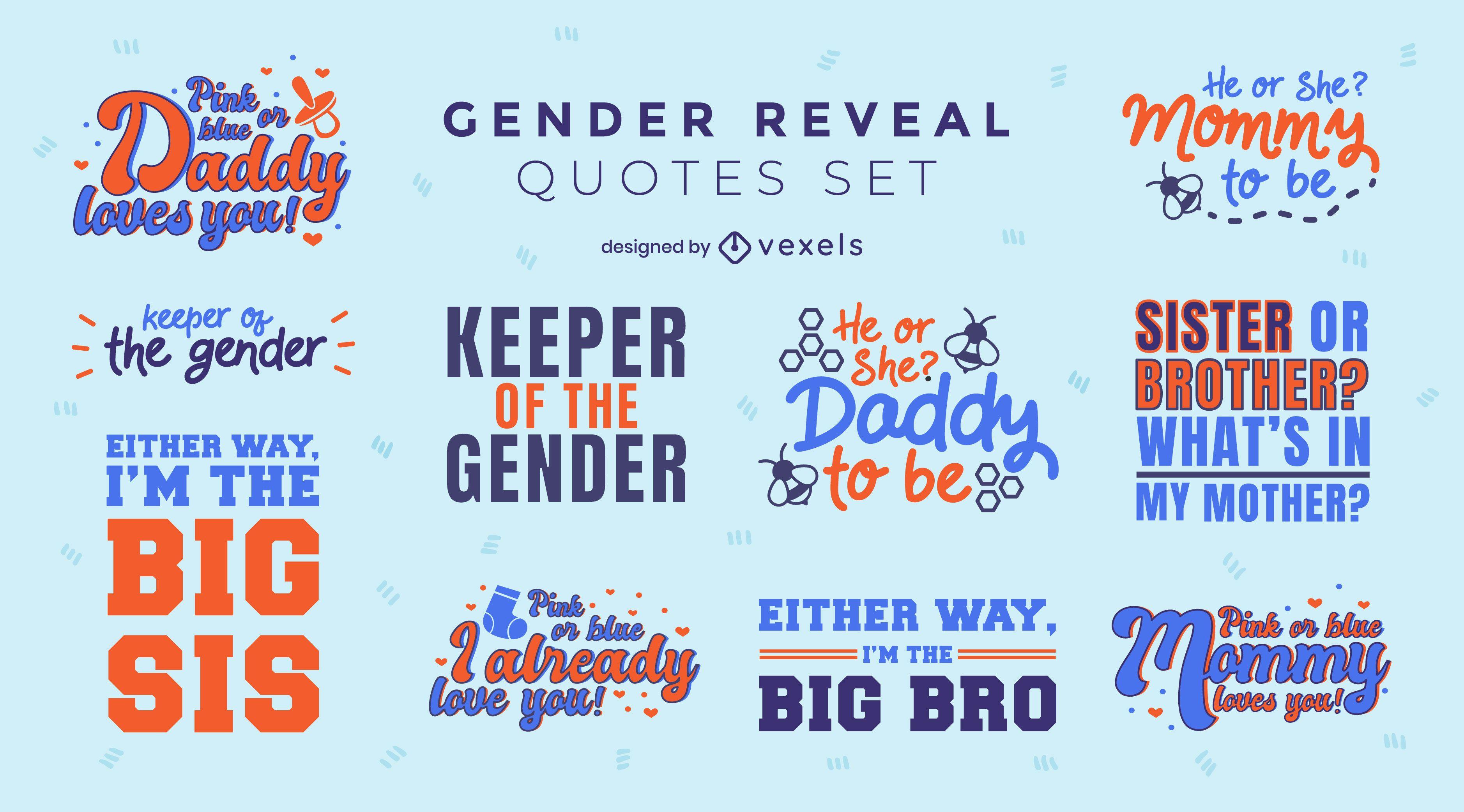Conjunto de letras de citas de revelación de género