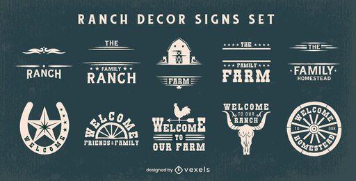 Conjunto de carteles de decoración de granja de rancho