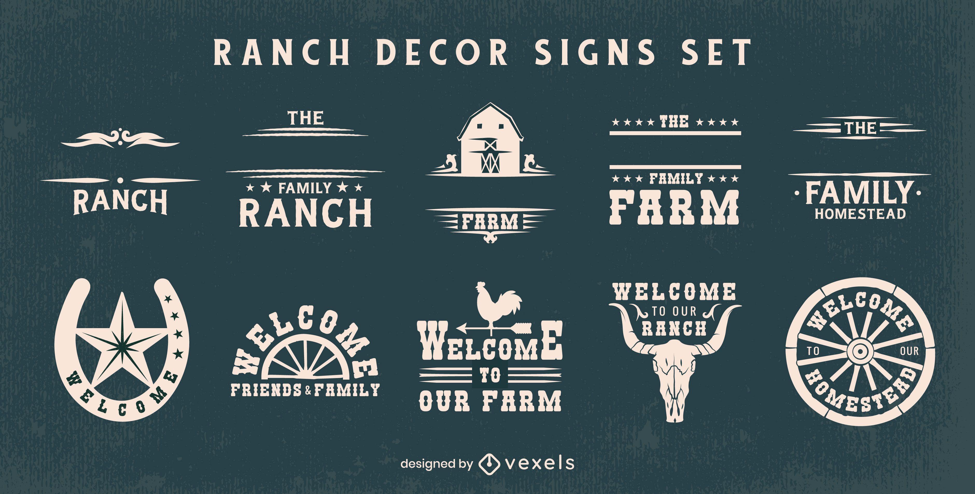 Conjunto de placas de decoração de fazenda de fazenda