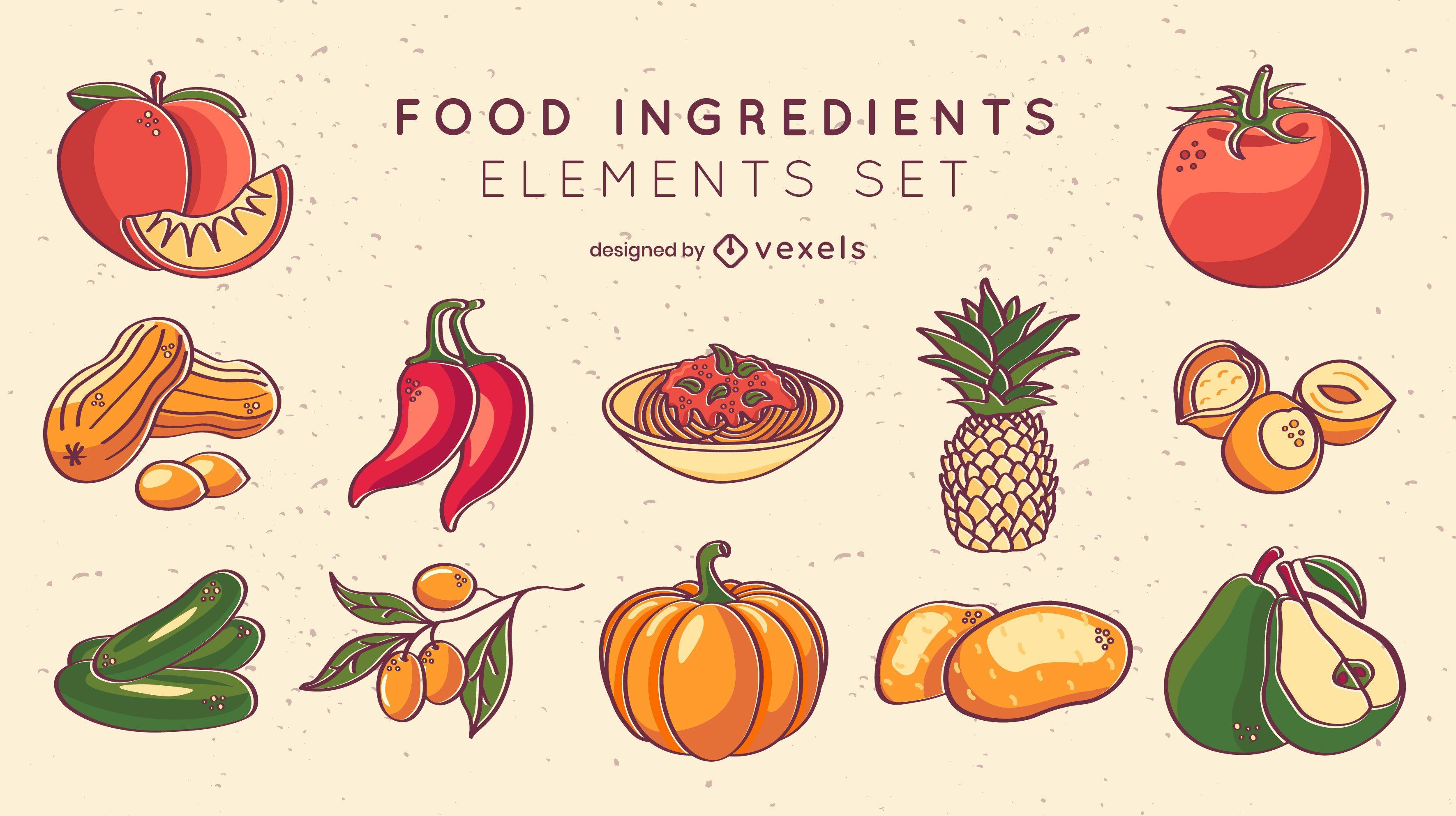 Conjunto de frutas e vegetais com traço de cores