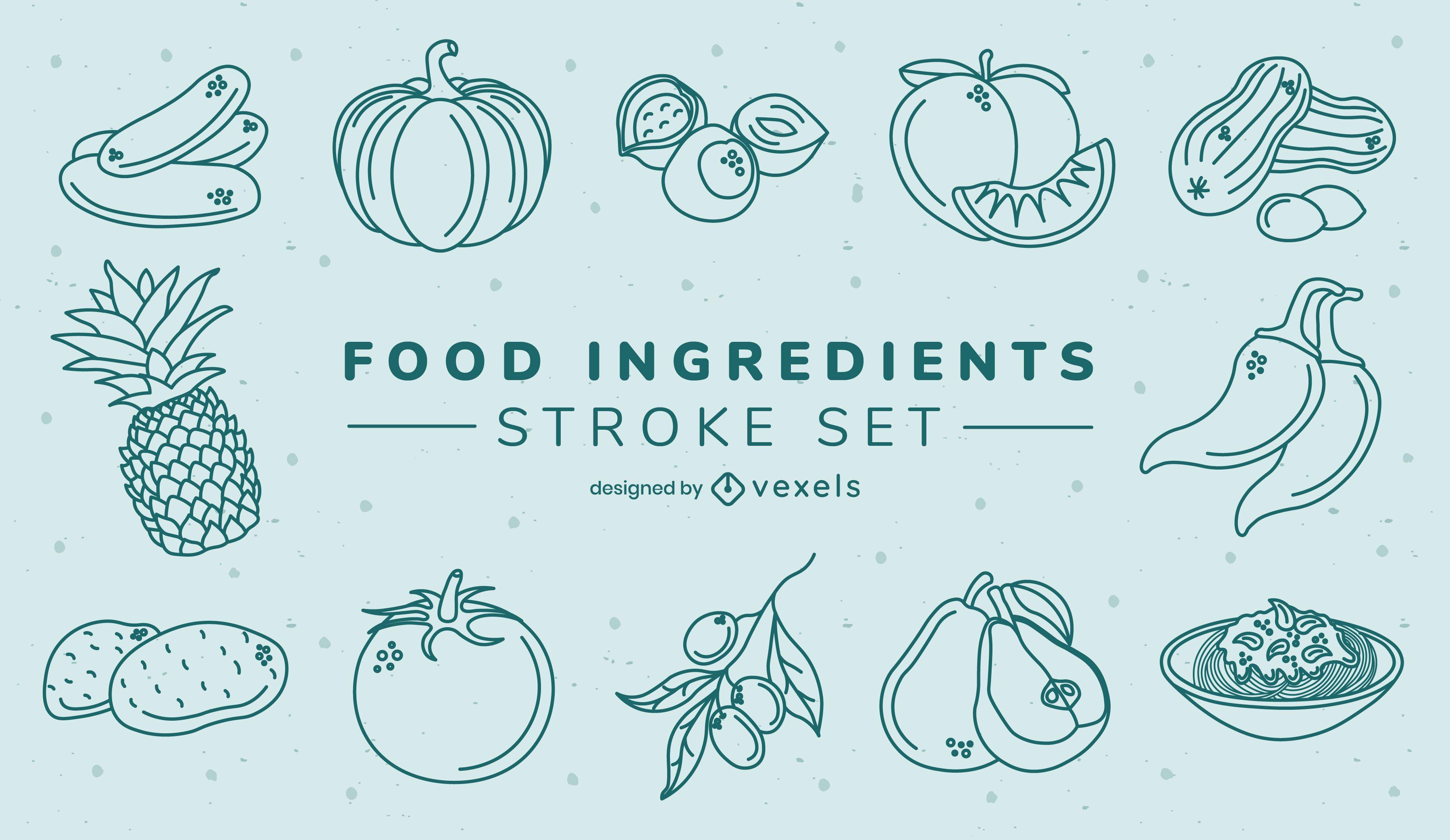 Conjunto de alimentos de frutas y verduras de trazo.