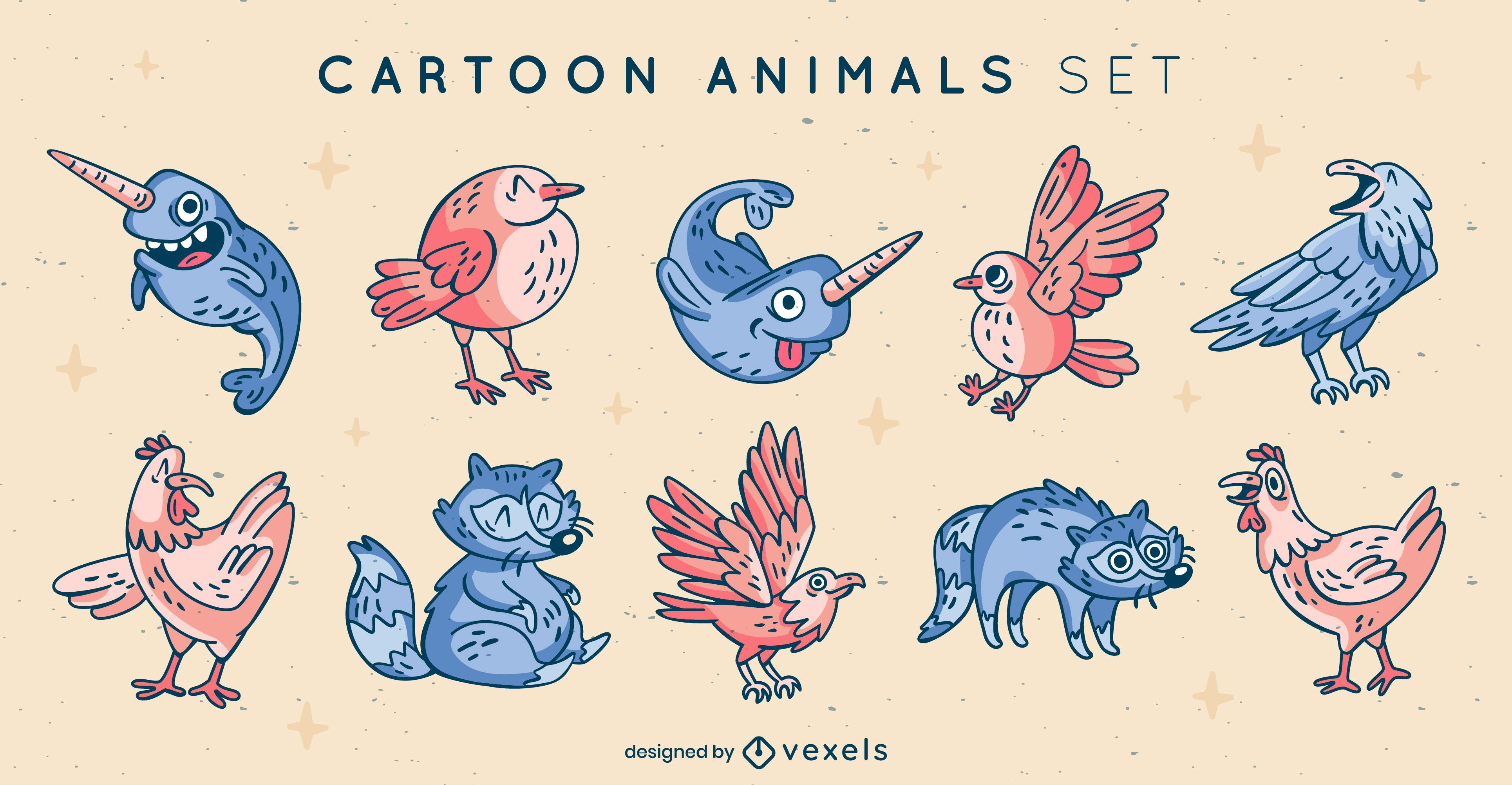 Conjunto de elementos animais de desenho animado legais