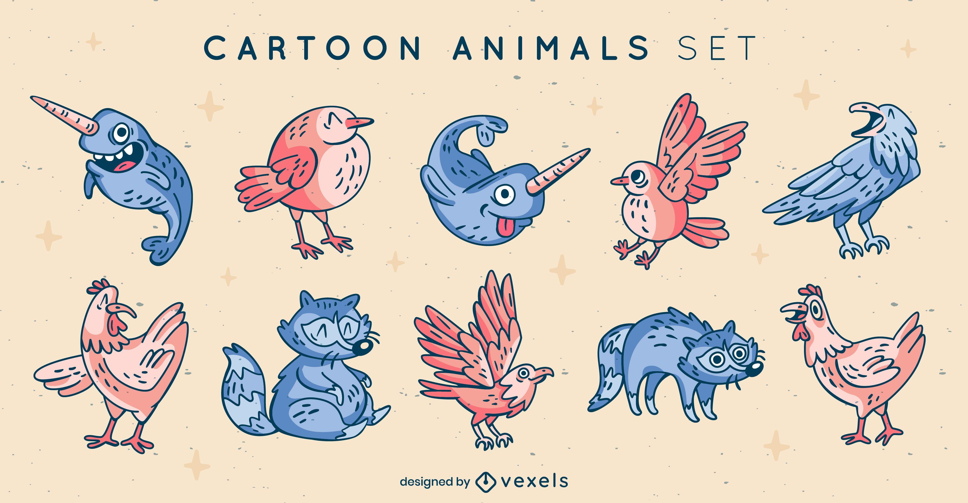 Set of cool cartoon animal elements