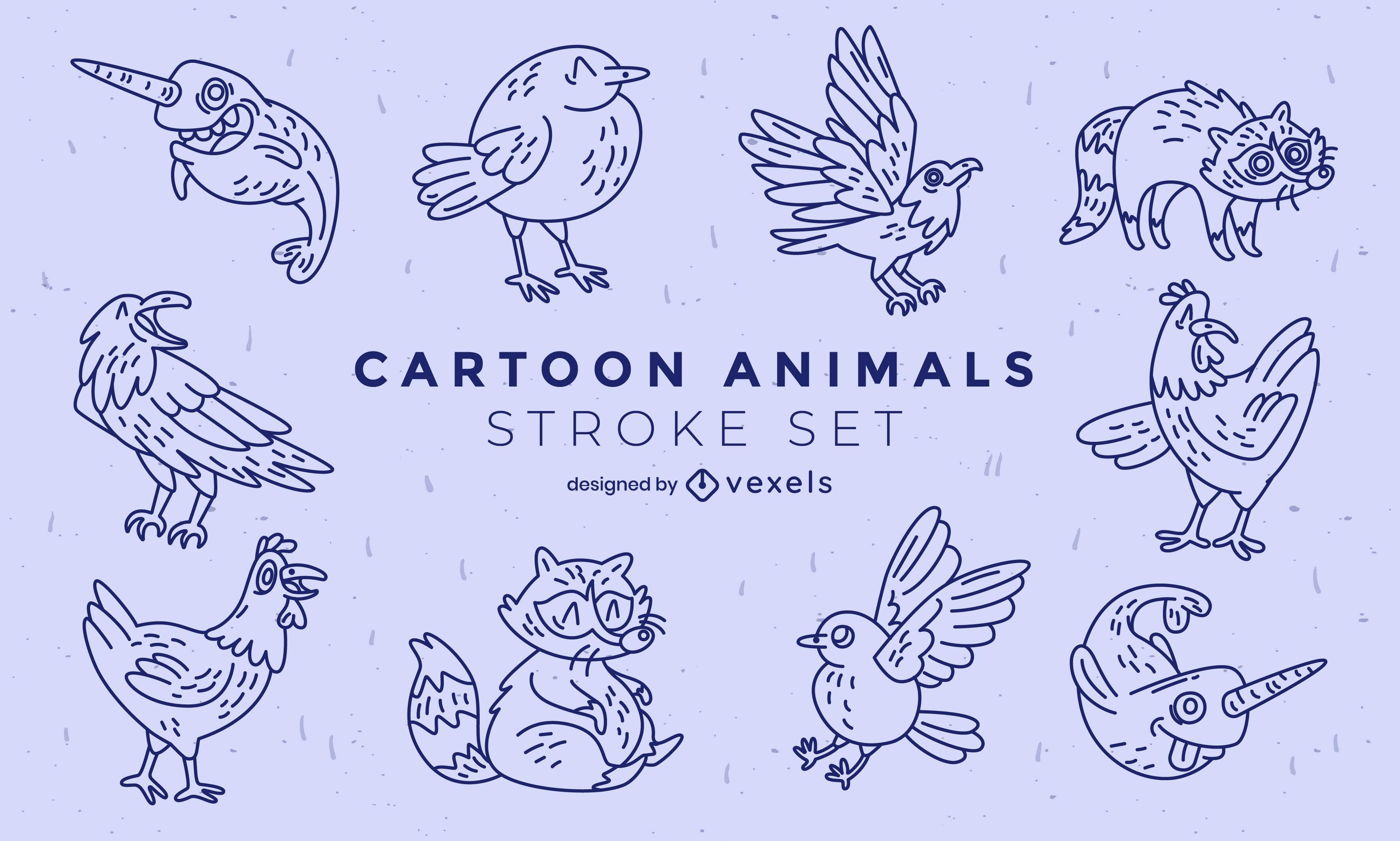 Cartoon animals set of elements stroke