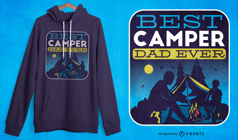 Diseño de camiseta de padre e hijo de camping.