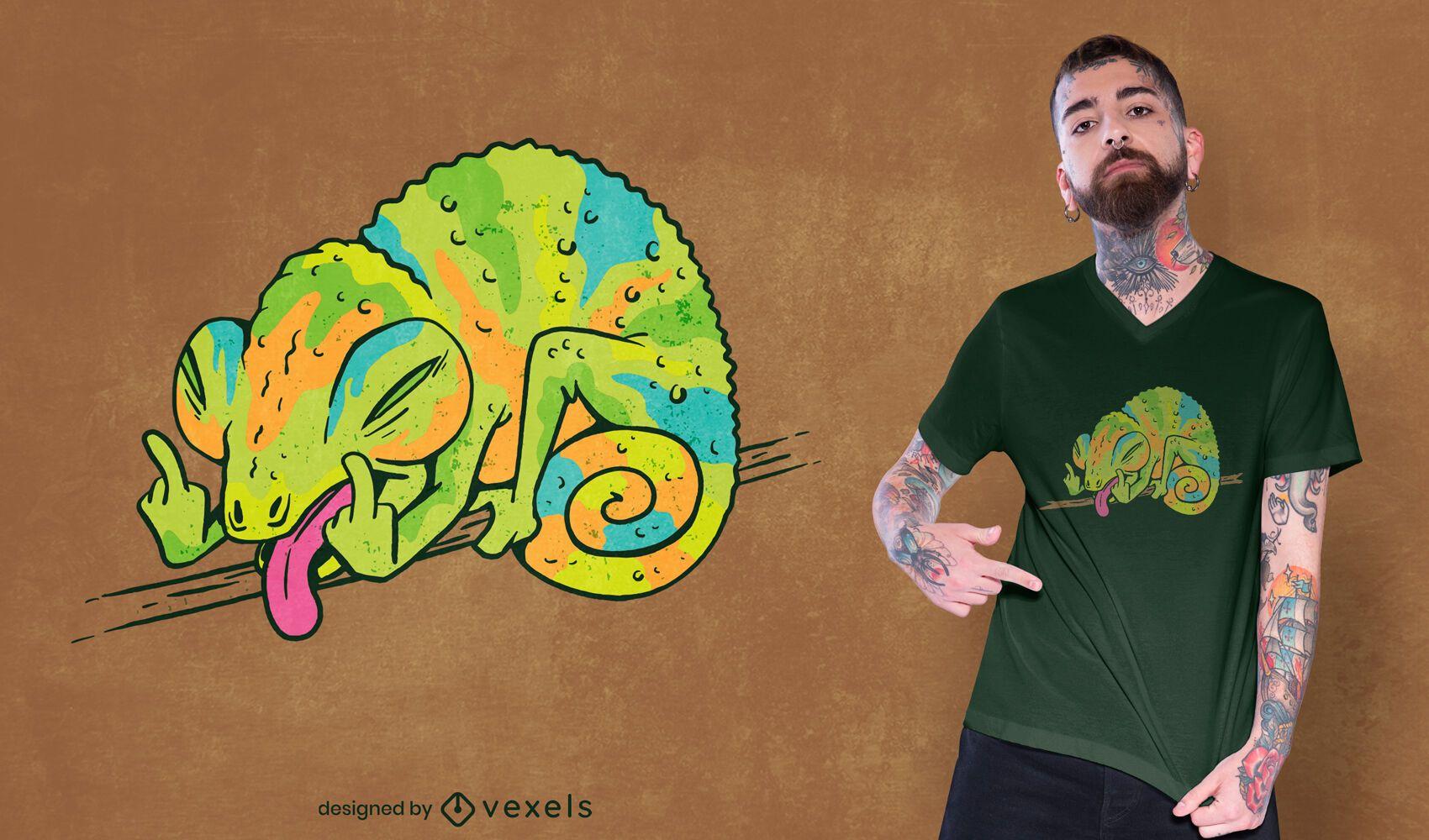 Design de camiseta com gesto engraçado camaleão