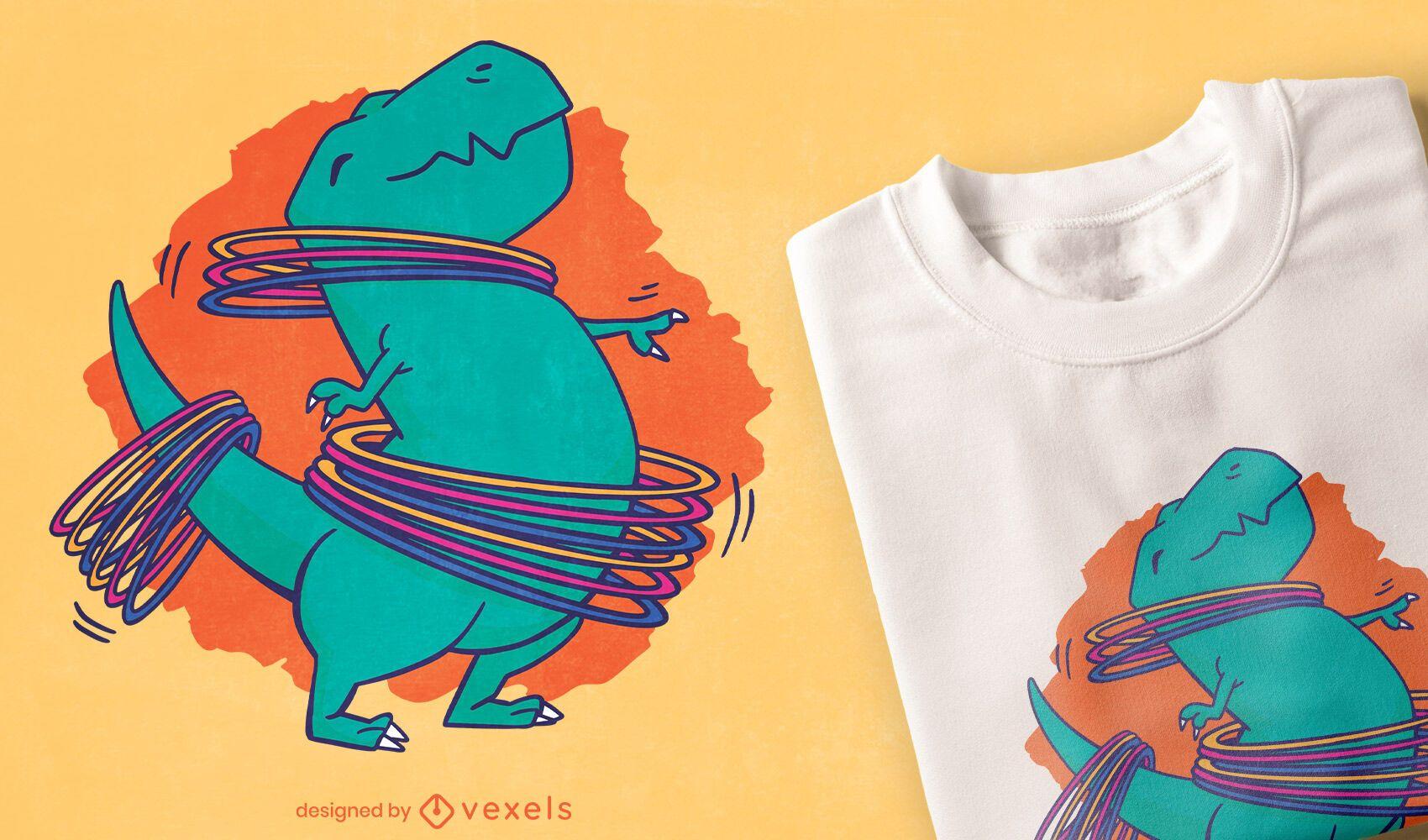 Niedliches T-Rex-Dinosaurier-Hula-Hoop-T-Shirt-Design