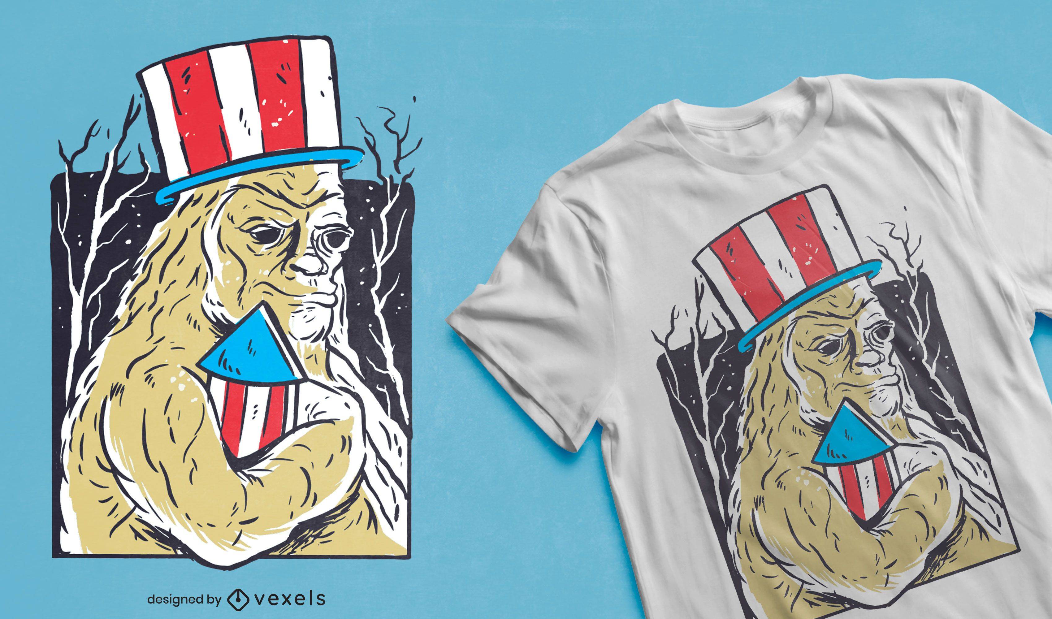 Diseño de camiseta patriótica monstruo bigfoot