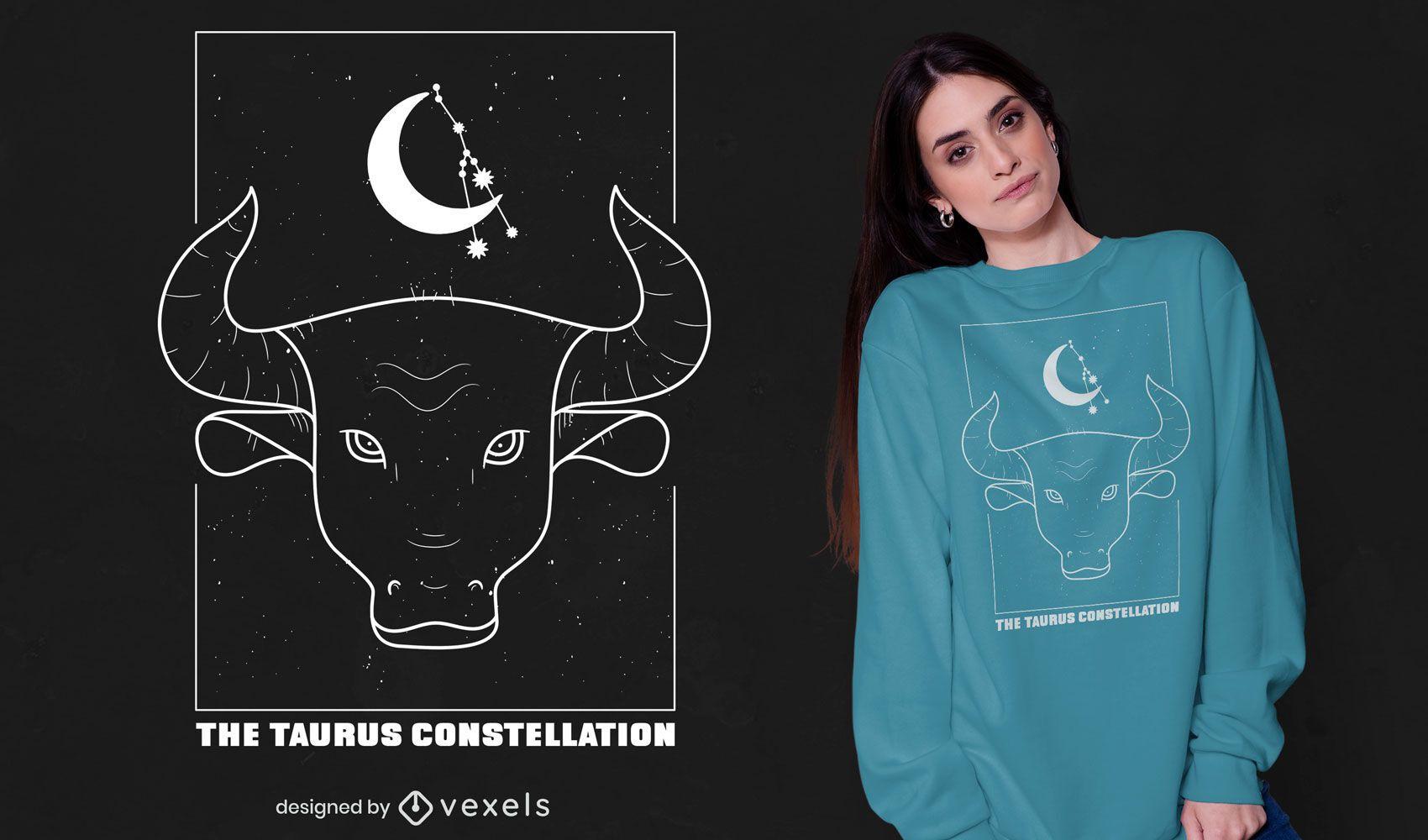 Diseño de camiseta de signo del zodiaco de la constelación de Tauro