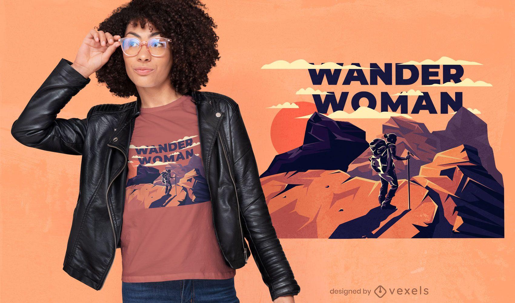 Design de camiseta feminina para caminhadas nas montanhas