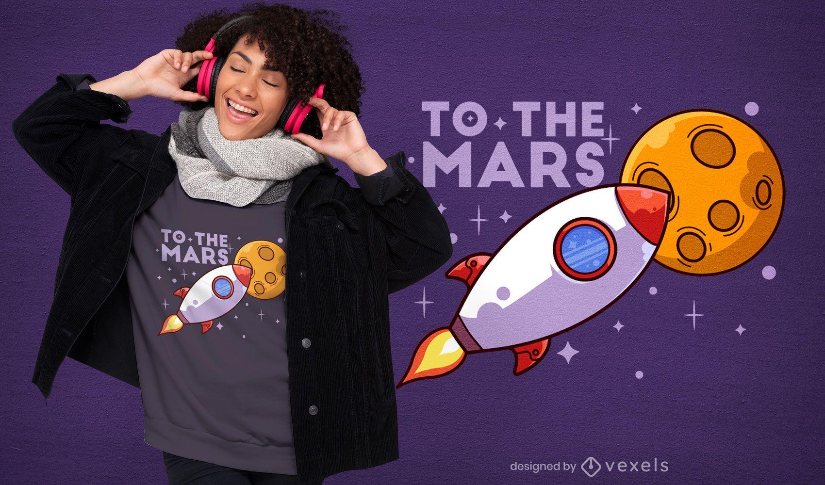 Rocket to mars cartoon t-shirt design