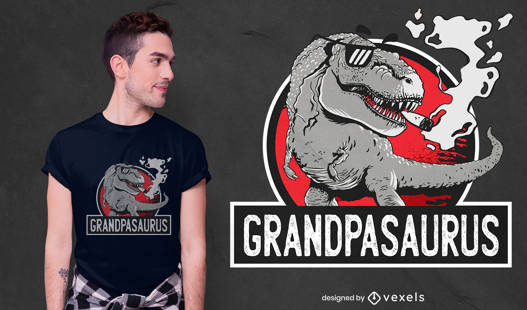Design de camiseta de dinossauro t-rex do avô