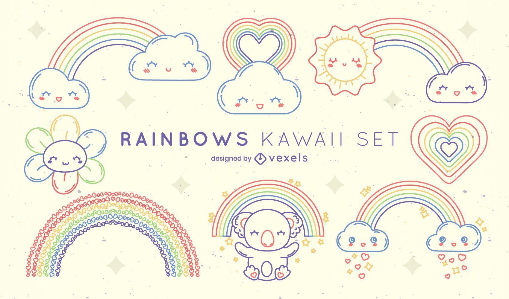 Set of kawaii rainbow elements