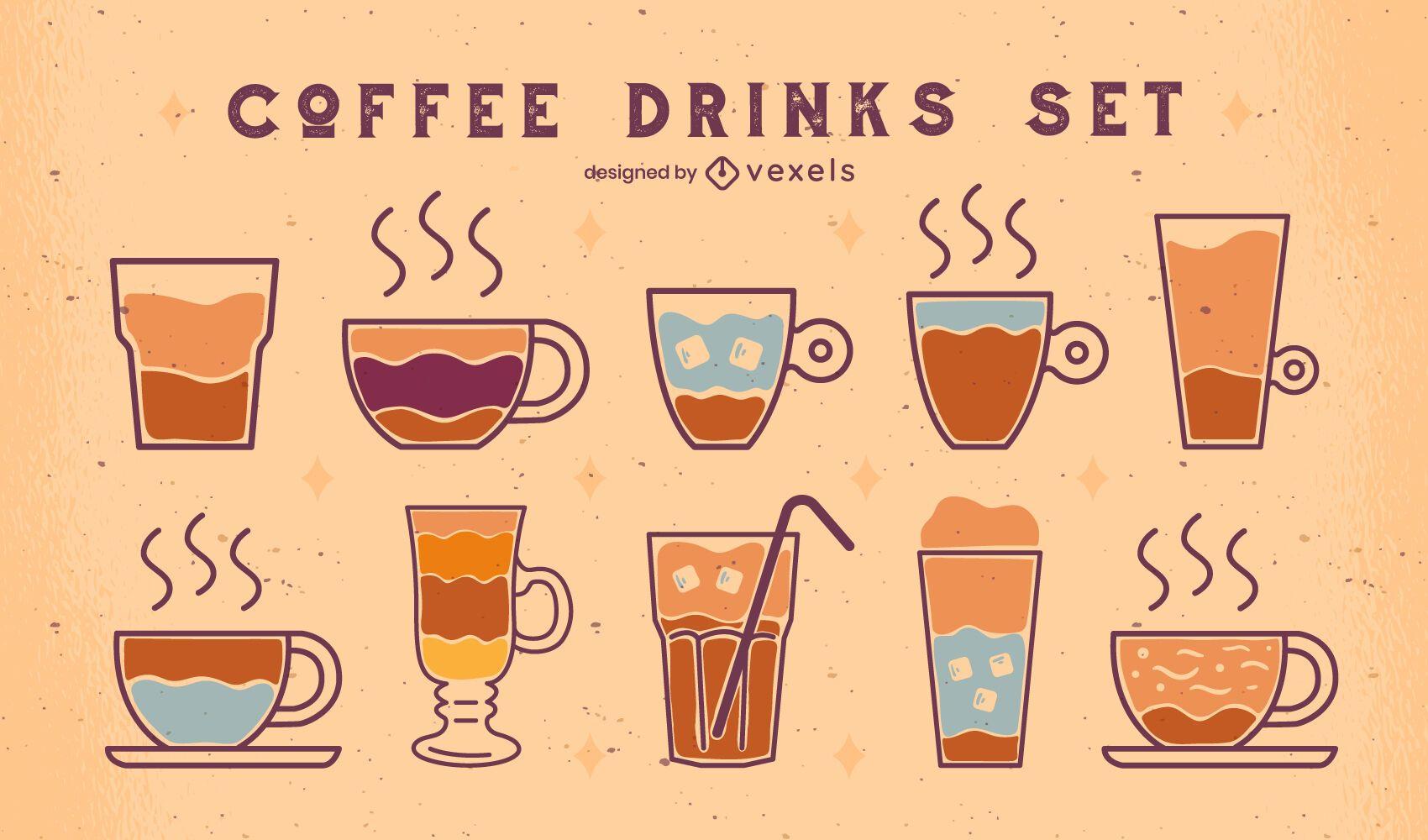 Coffee drinks set of flat elements