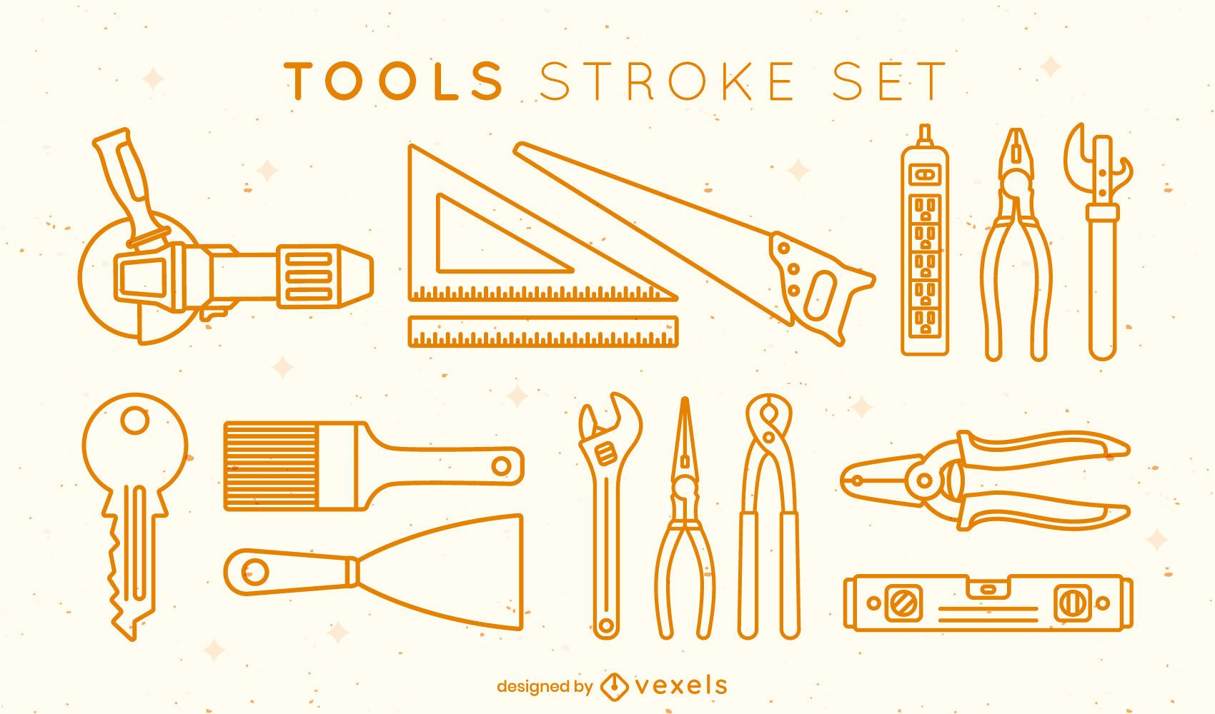 Set of tools stroke elements