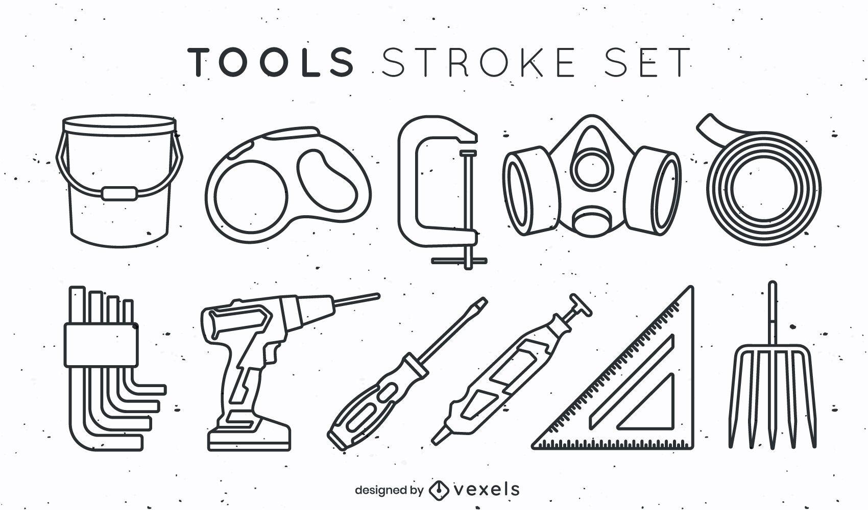 Conjunto de elementos de herramienta en estilo de trazo
