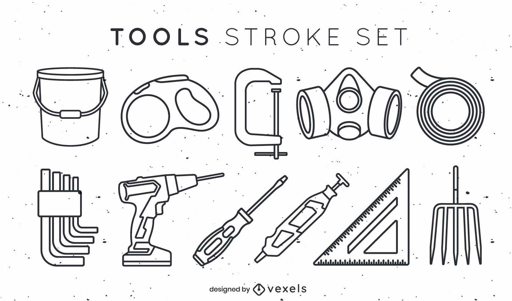 Set of tool elements in stroke style