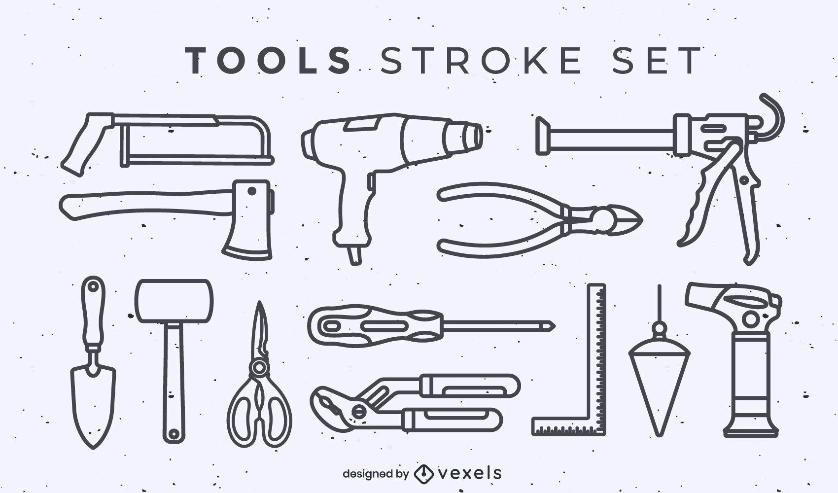 Traço do conjunto de elementos da ferramenta