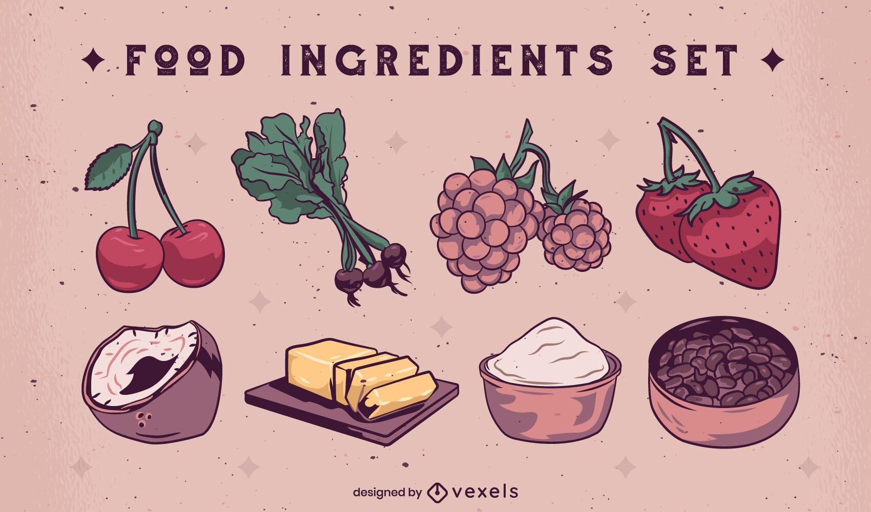 Ilustração do conjunto de ingredientes de elementos alimentares
