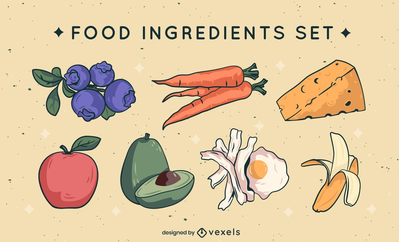 Food elements ingredients set color stroke