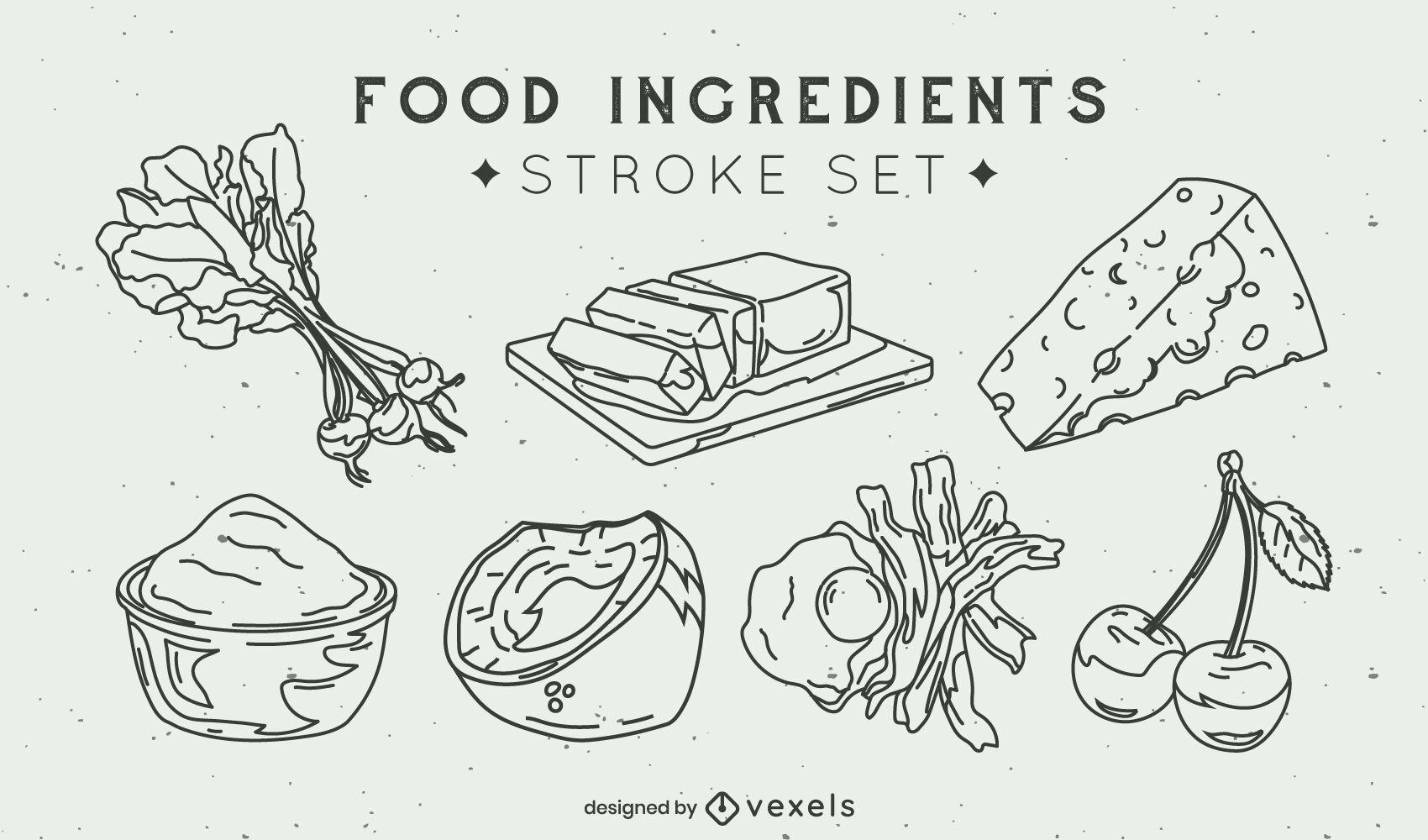 Conjunto de trazos de ingredientes de elementos alimenticios