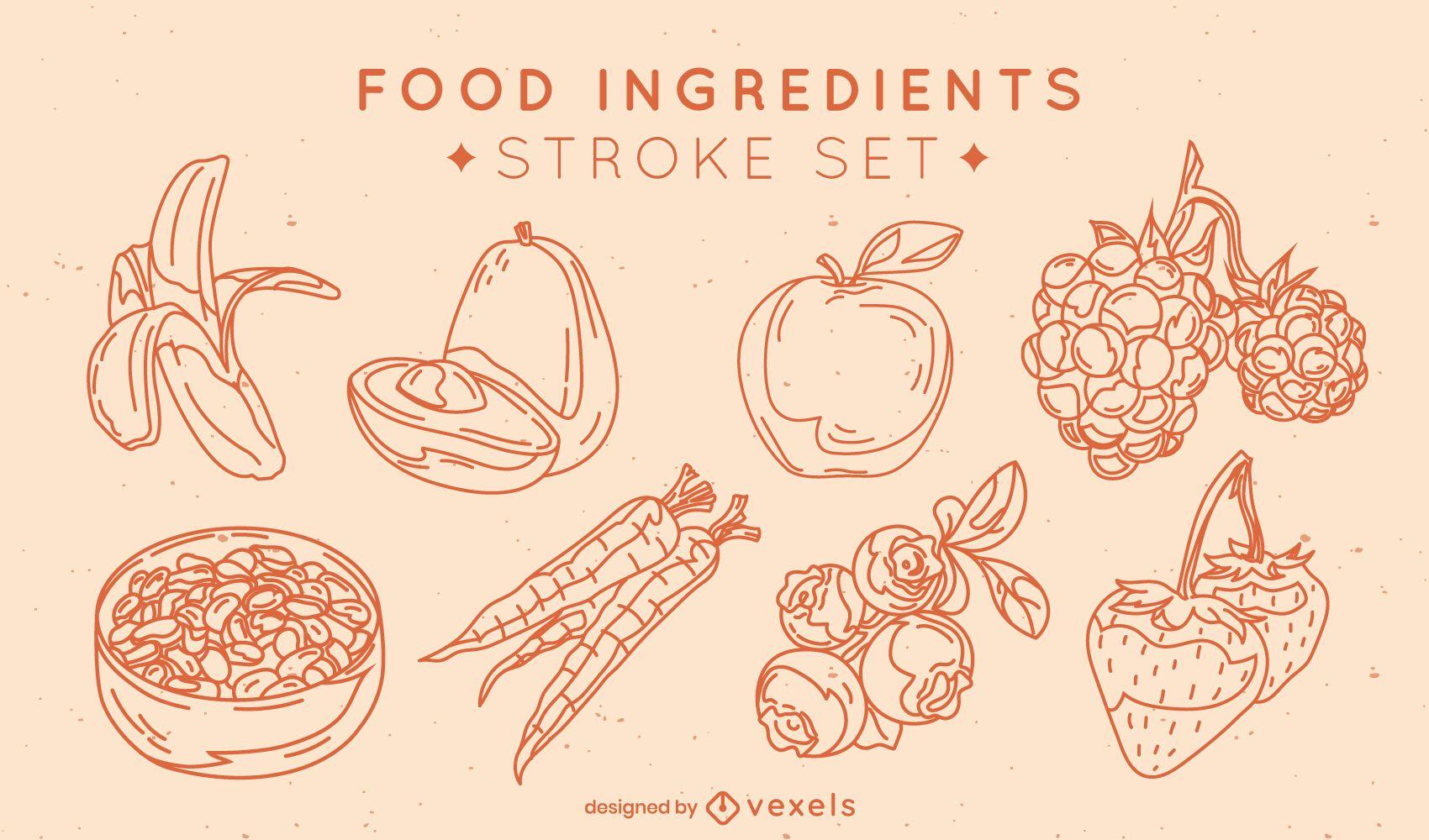 Conjunto de trazos de elementos de frutas y verduras.