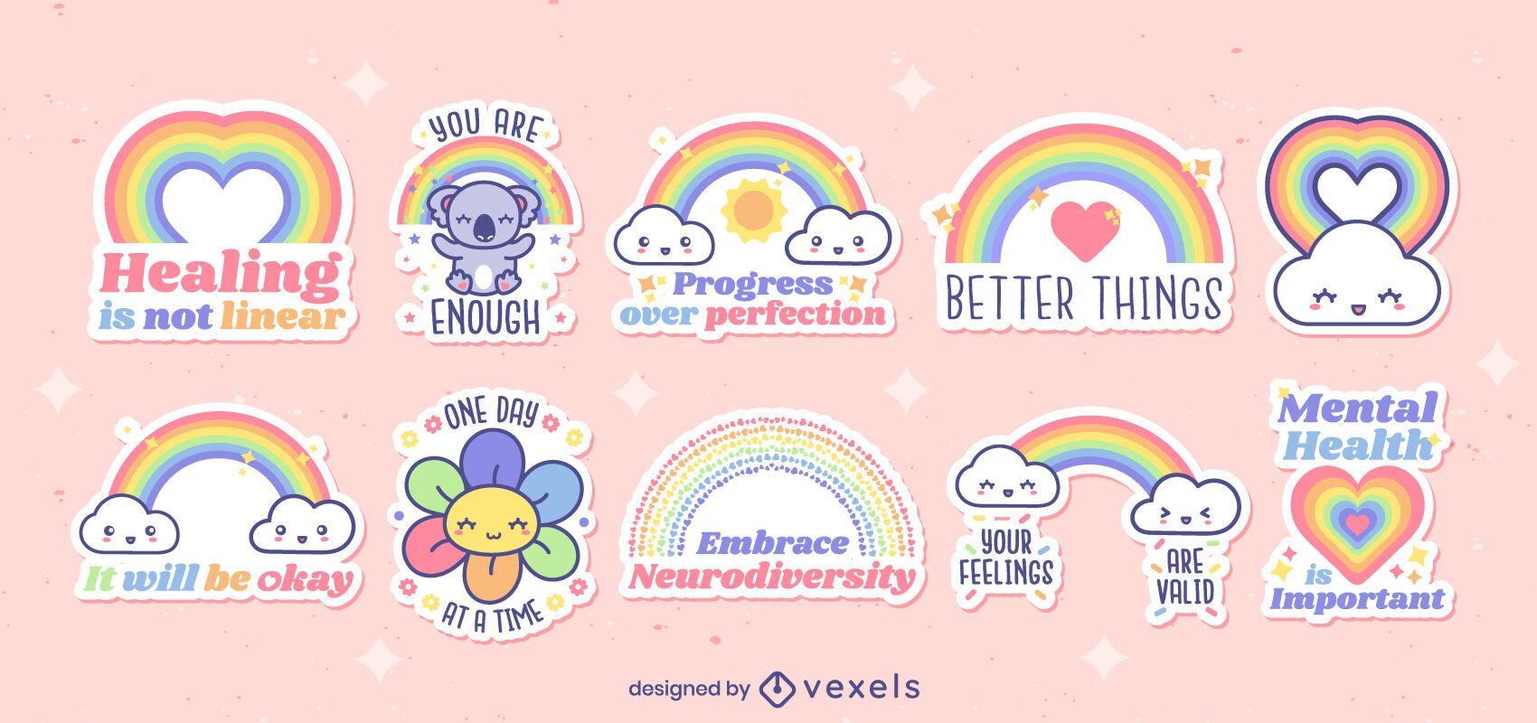Lindo juego de pegatinas de arco iris motivacionales