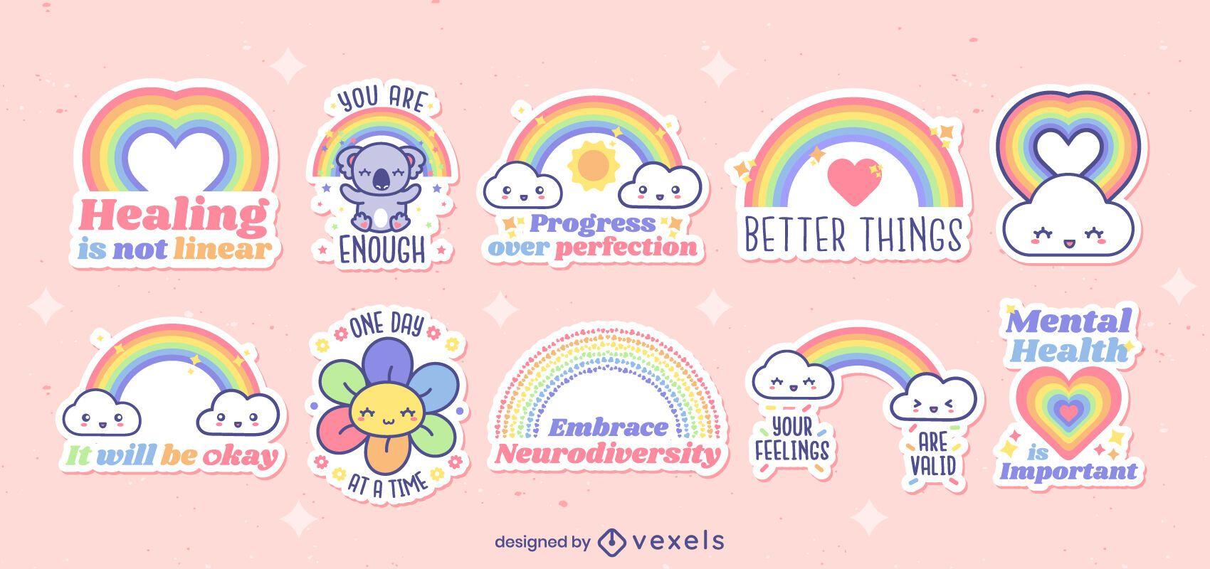 Netter Satz motivierender Regenbogenaufkleber