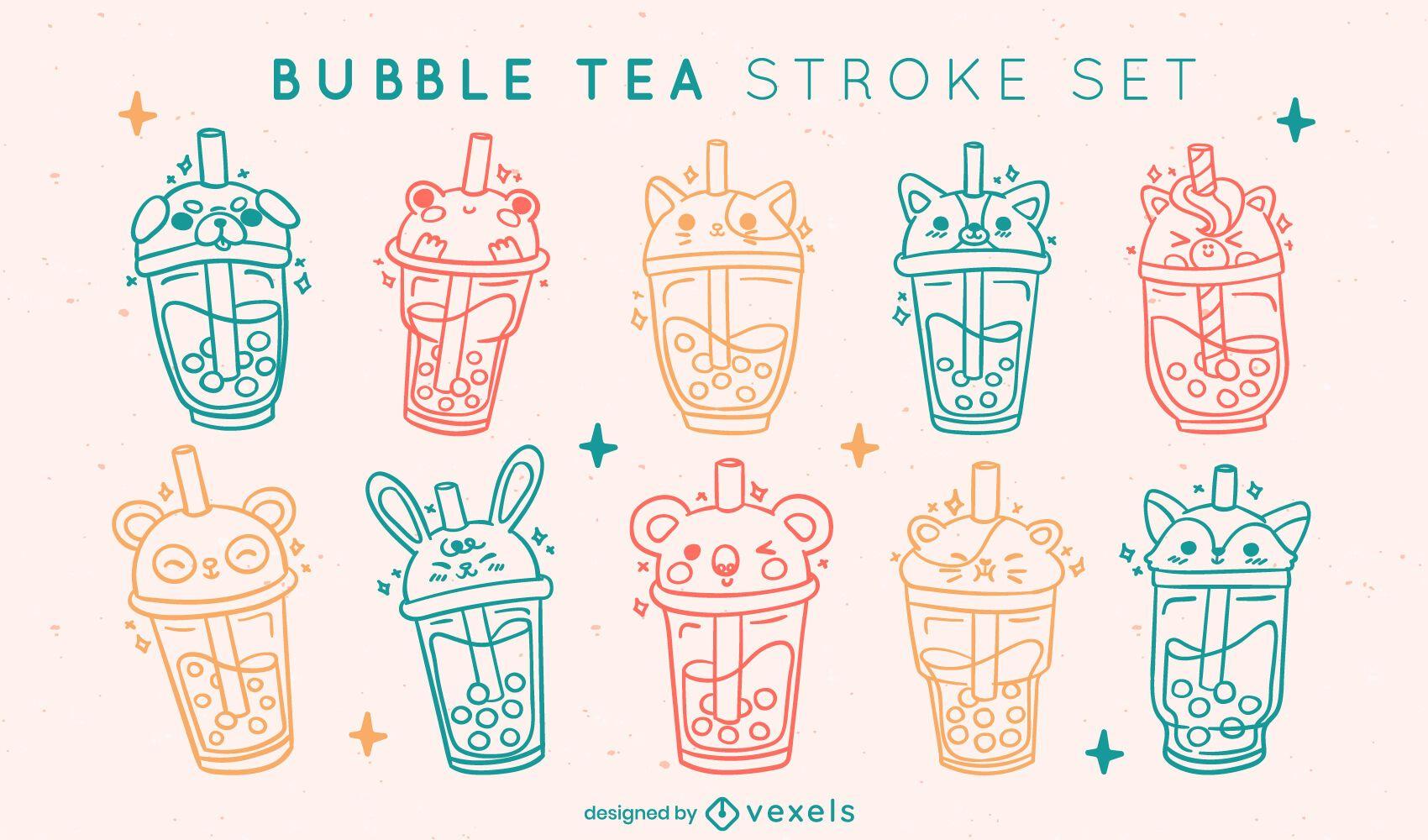 Juego de bebidas de trazo de té de burbujas