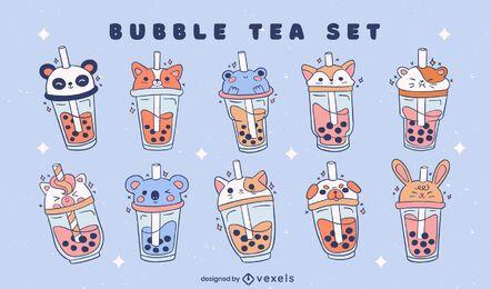 Bubble tea animals color stroke set