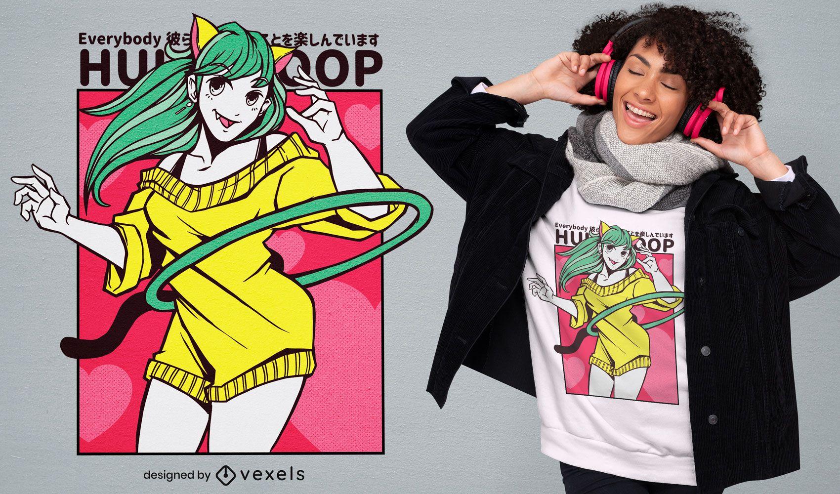 Hula hoop anime girl t-shirt design