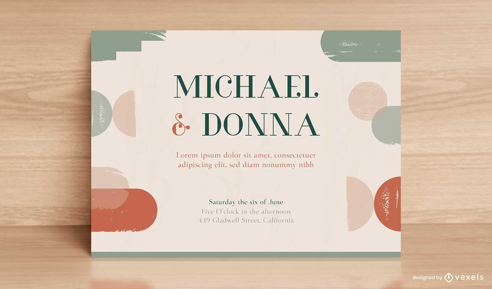 Wedding invitation warm abstract tones template