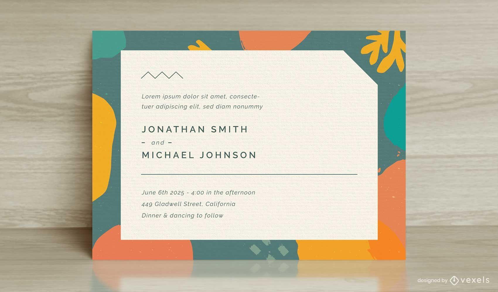 Wedding invitation abstract template
