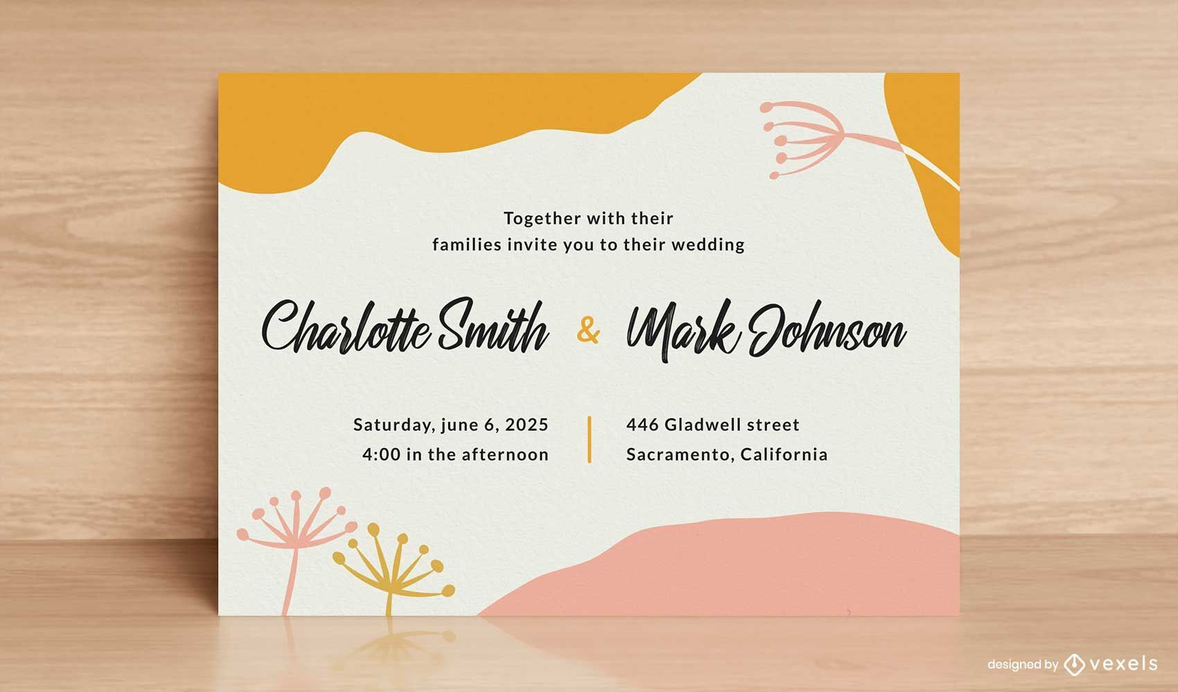 Wedding card abstract template