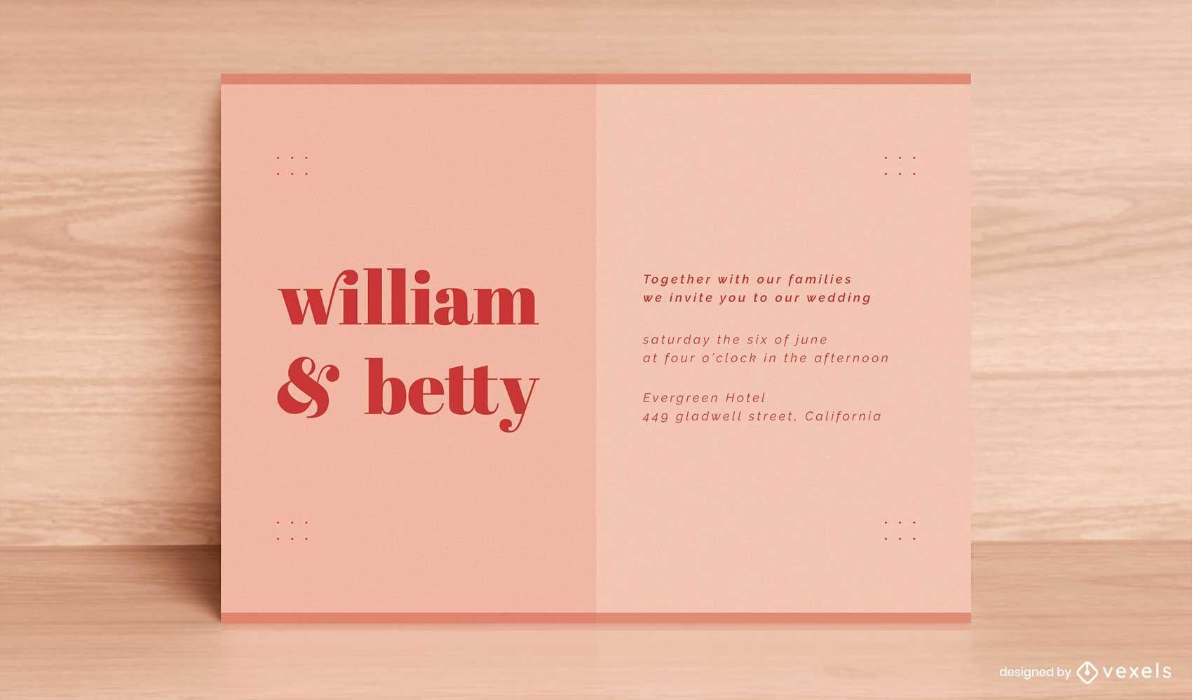 Minimale Vorlage für Hochzeitskarten